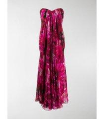 alexander mcqueen floral print strapless evening dress