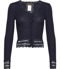 silk cardigan short ls w/wide lace gebreide trui cardigan blauw rosemunde
