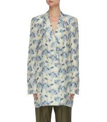 graphic print habutai silk double breast blazer