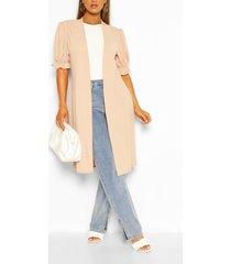 frill short sleeve maxi kimono, stone
