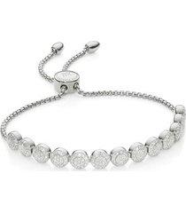sterling silver fiji mini button friendship chain bracelet diamond