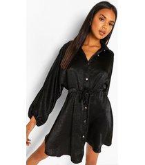 geplet satijnen blouse jurk met geplooide middel, black