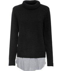maglione a collo alto con inserto di camicia (nero) - bodyflirt
