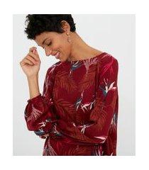 blusa manga longa com elastico estampa folhagem | marfinno | vermelho | pp