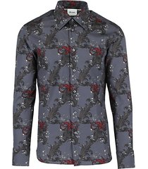 filagree-print silk & cotton shirt