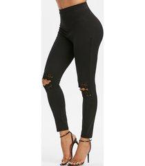 guipure insert knee ripped high waisted leggings