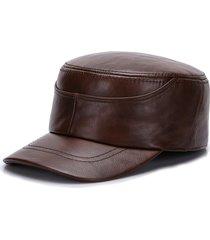 47825eb8059d berretto piatto invernale caldo in pelle pu per uomo cappello rovesciato  militare regolabile vintage nano
