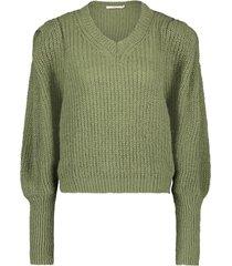 gebreide trui met pofmouwen mascha  groen