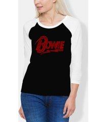 women's david bowie logo raglan baseball word art t-shirt