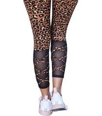 leggings de cintura alta con bolsillos laterales de leopardo marrón