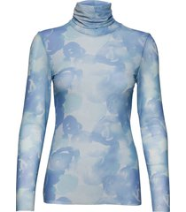 printed mesh blouse lange mouwen blauw ganni