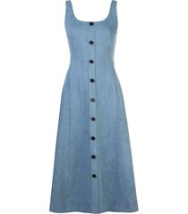 adam lippes flared button dress - blue