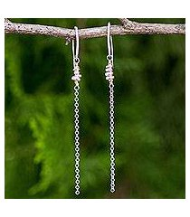 gold accented sterling silver dangle earrings, 'rain chain' (thailand)