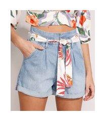short clochard jeans cintura super alta com faixa estampada para amarrar azul claro