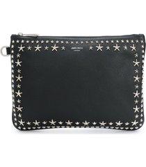 jimmy choo star stud clutch bag - black