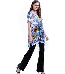 blusa 101 resort wear tunica decote v crepe fendas estampada floral