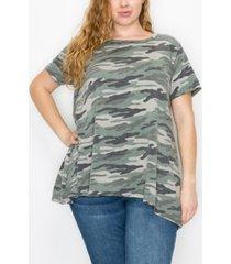 plus size camo print high low button back t-shirt