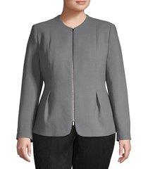 lafayette 148 new york women's plus textured wool jacket - rock - size 14w