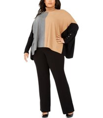 alfani plus size turtleneck colorblock poncho sweater, created for macy's