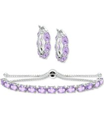 2-pc. set amethyst small hoop earrings and bolo bracelet (7-1/5 ct. t.w.) in sterling silver (also in blue topaz, peridot, rhodolite garnet & multi-stone)
