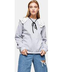 grey marl collared sweatshirt - grey