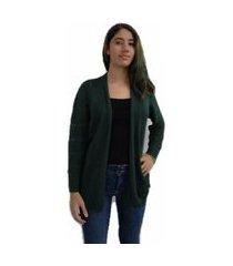 casaqueto bon alongado em tricô vazado verde