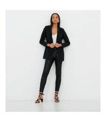 calça legging animal print com ziper lateral   cortelle   preto   pp