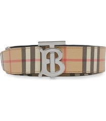 burberry reversible monogram motif vintage check belt - neutrals
