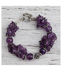 amethyst beaded bracelet, 'orchid splendor' (india)