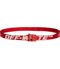 men's off-white mini 2.0 industrial belt, size one size - red white