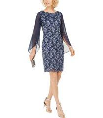connected plus size lace split-sleeve sheath dress