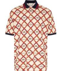 gucci belt logo print polo shirt - neutrals
