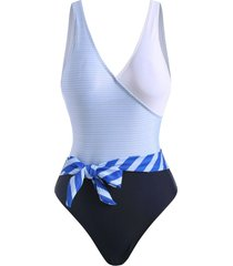 striped belted backless one-piece swimsuit