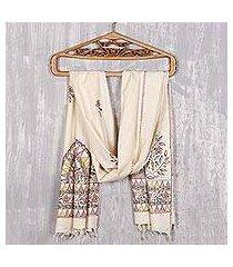 madhubani silk scarf, 'peacock harmony' (india)