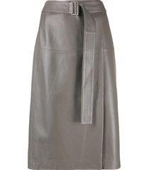 joseph belted-waist a-line skirt - grey