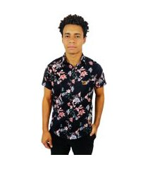 camisa estampada casual camaleão urbano floral storm flowers preta
