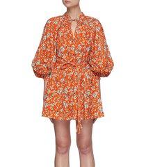 'lilian' floral print balloon sleeve belted mini dress