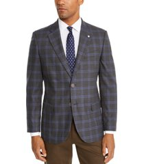 nautica men's modern-fit active stretch gray/blue windowpane sport coat
