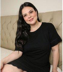 camisola de ribana com renda curve e plus size preto
