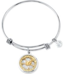 "disney's two-tone crystal ""ohana"" glass shaker adjustable bangle bracelet in stainless steel for unwritten"