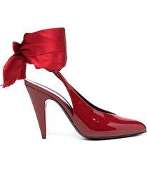 saint laurent venus wrap-tie pumps - red