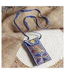 embroidered eyeglasses bag, 'embellished beauty in blue' (peru)