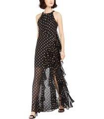 betsy & adam petite chiffon foil ruffle gown