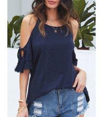 yoins azul oscuro hombro frío con cordones diseño camiseta con detalles de borla