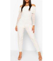 off the shoulder mesh sleeve skinny leg jumpsuit, ivory