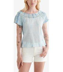lucky brand cotton crochet-neck textured top