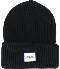 ader error ribbed logo beanie - black