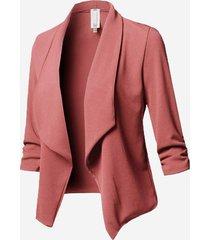 blazer manica lunga con collo a scialle casual in tinta unita
