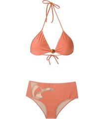 adriana degreas panelled bikini set - orange