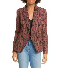 women's l'agence kenzie double breasted blazer, size 2 - red